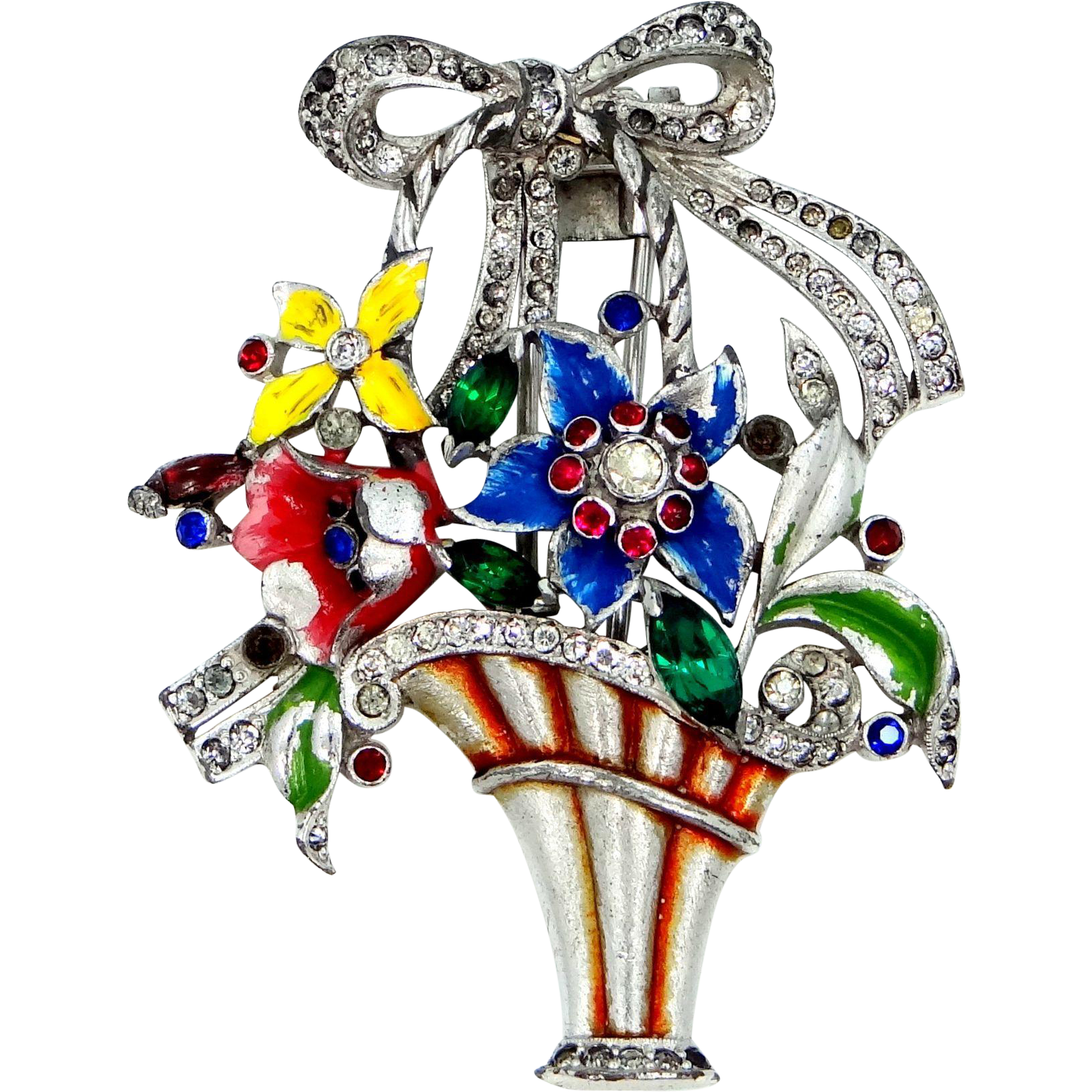 Pretty 1930's Enamel and Rhinestone Basket Fur Clip