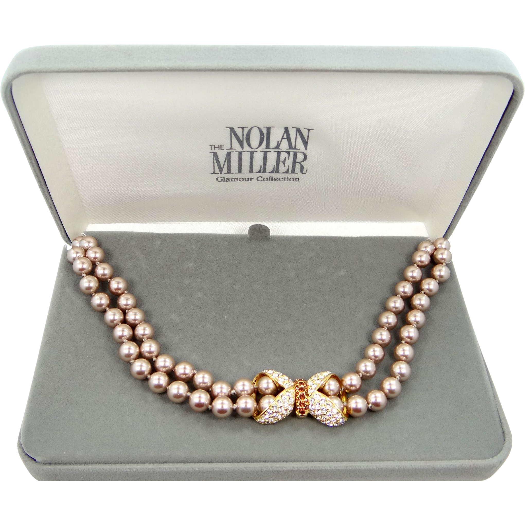 Vintage Nolan Miller Romantic Figure 8 Double Strand Faux Pearl Necklace with Box