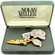 "Nolan Miller Rhinestone Flower pin ""Glamour Collection"" w/ Box & Tag"