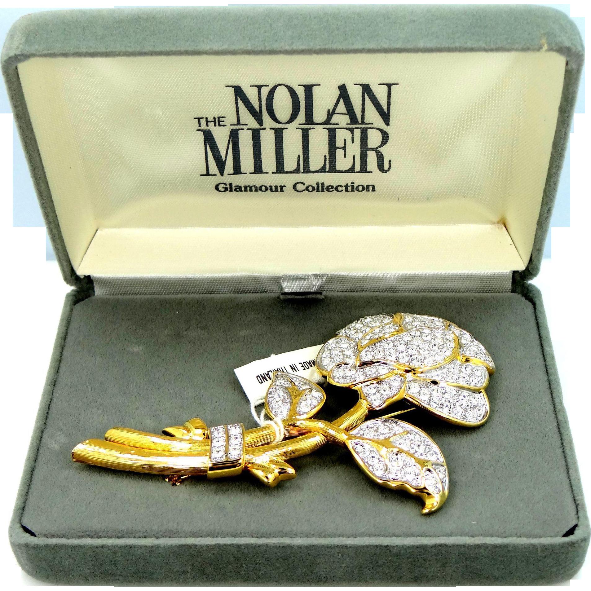 "Nolan Miller Rhinestone Flower pin ""Glamour Collection"" w/ Box & Tag"
