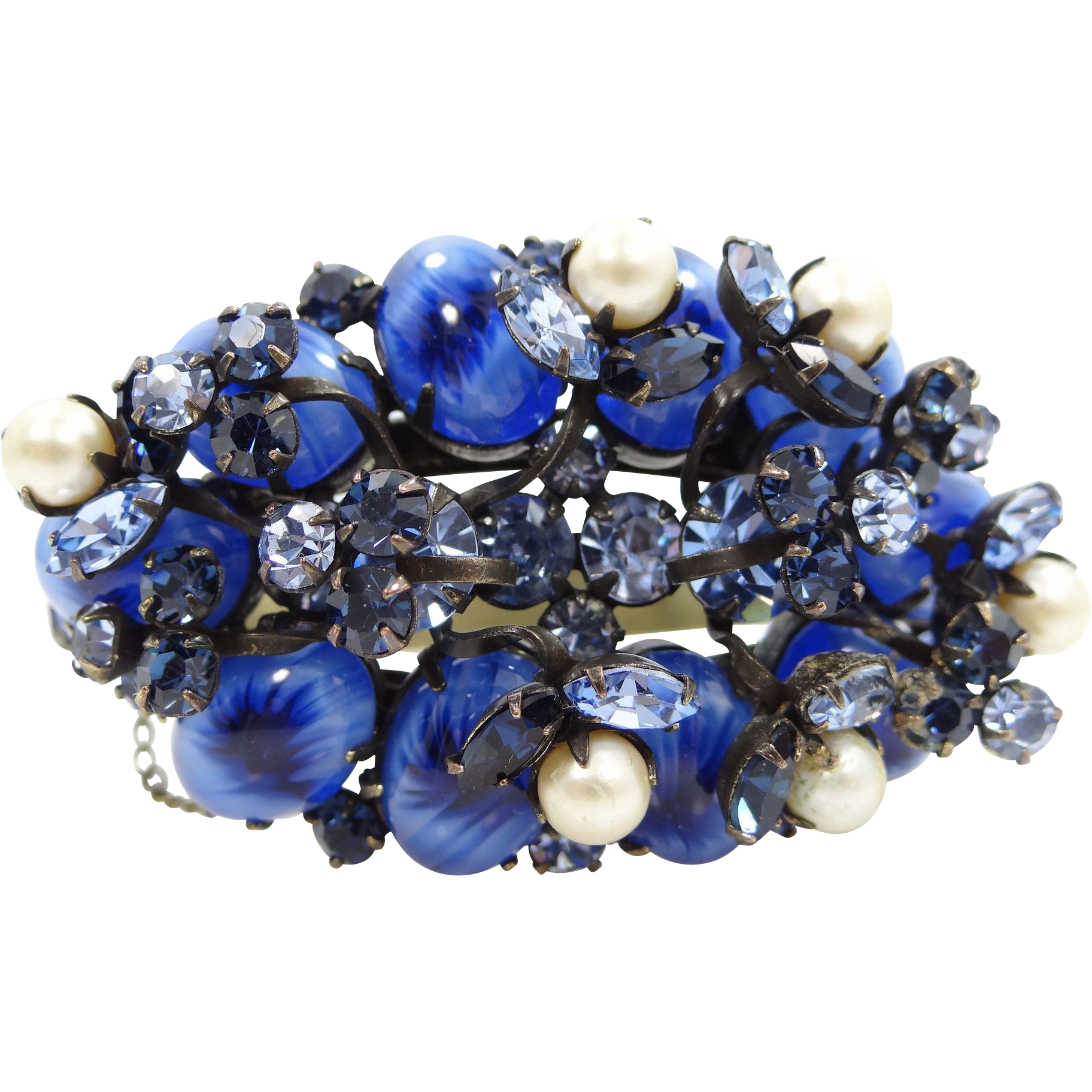 Chunky, Vintage Blue Rhinestones and Art Glass Bangle Bracelet