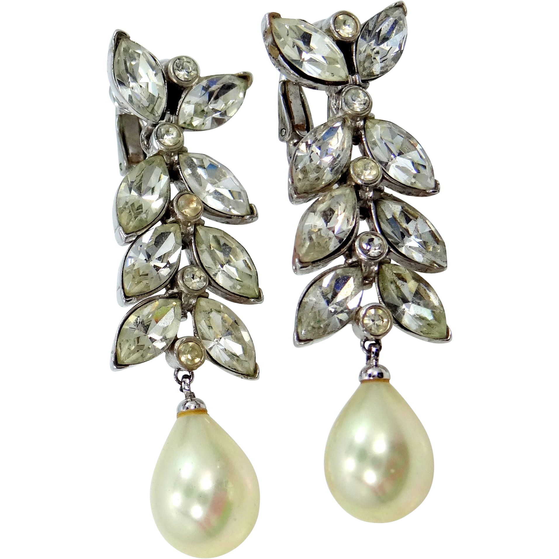 Ciner Rhinestones and Faux Pearls Dangle Shoulder Duster Earrings