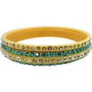 2 Art Deco Blue & Clear Rhinestones Celluloid Bangle Bracelets
