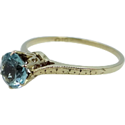 Victorian 10k Gold Finely Etched Aqua Blue Paste Ring