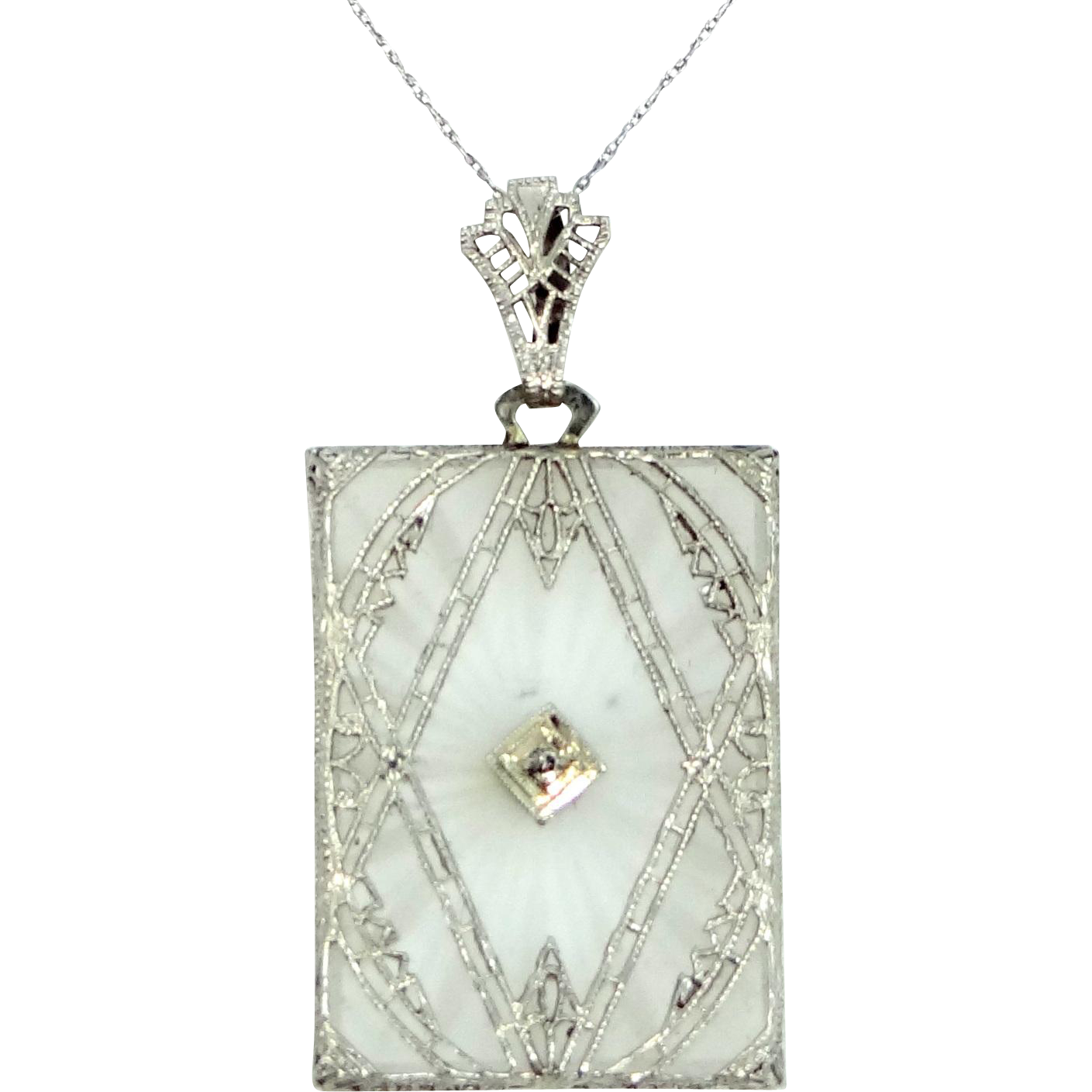 """Unusual 14k White Gold """"Rectangle Shaped"""" Filigree Camphor Glass and Diamond Necklace"""