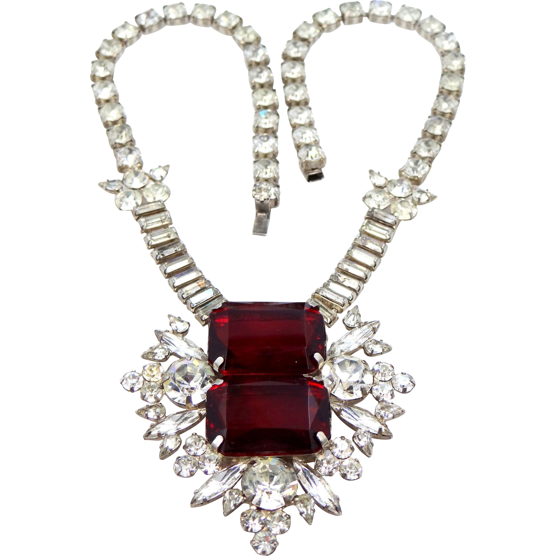 Large and Chunky Vintage Ruby Red and Clear Rhinestone Runway Necklace
