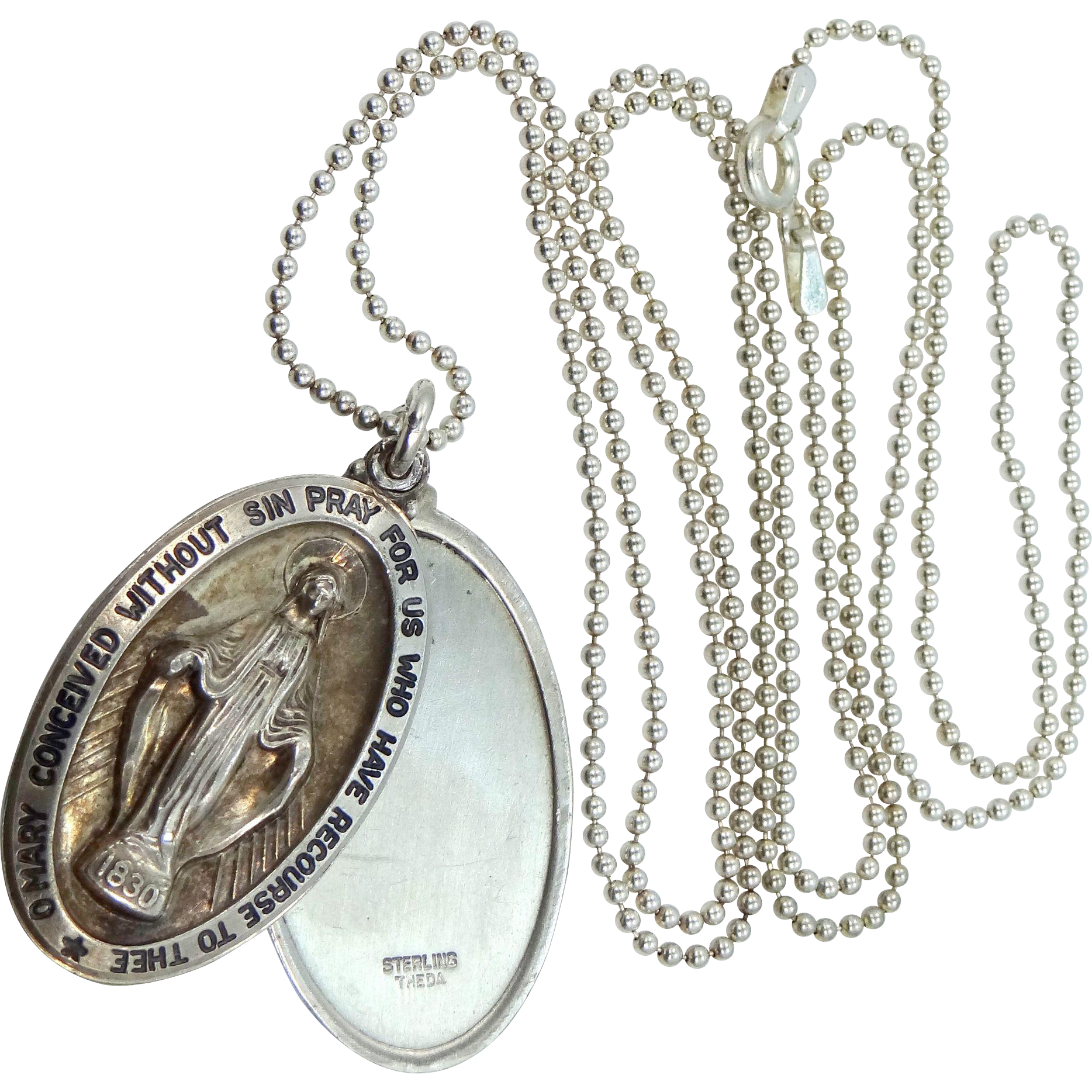 Unusual Sterling Sliding Medals with Miraculous Medal and Saint Christopher on Beaded Chain