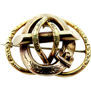 14k Gold Victorian Pin with Buckle Motif