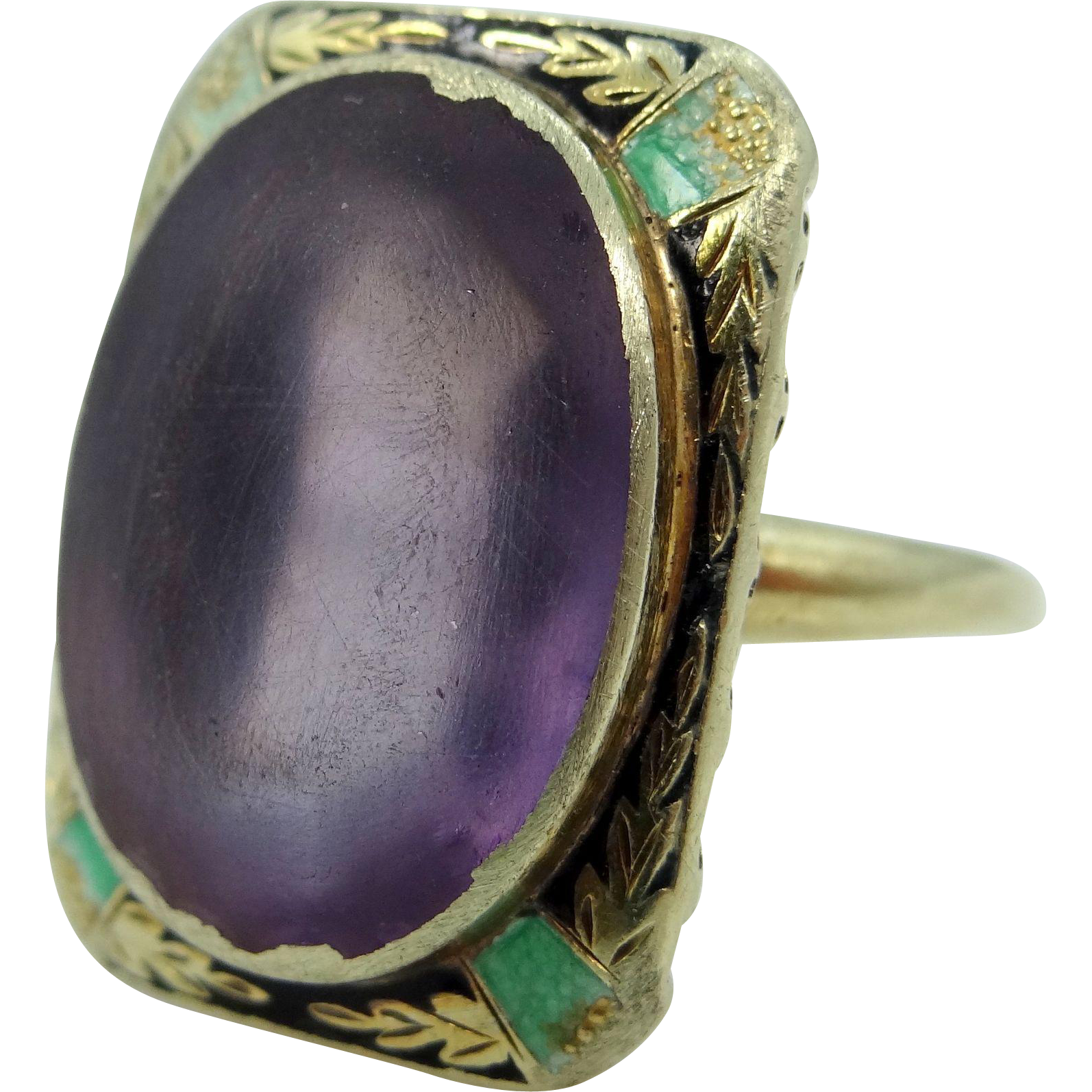 Art Deco 14k Gold Filigree Enamel Amethyst Ring