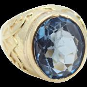 18k Gold Blue Topaz Size 9 Ring