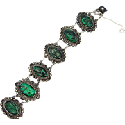 Mexico Sterling Silver and Green Agate Etruscan Style Bracelet