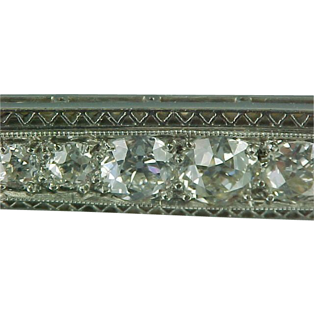 1905 Platinum / 18k Gold & 26 Diamonds Edwardian Bar Pin 3ctw