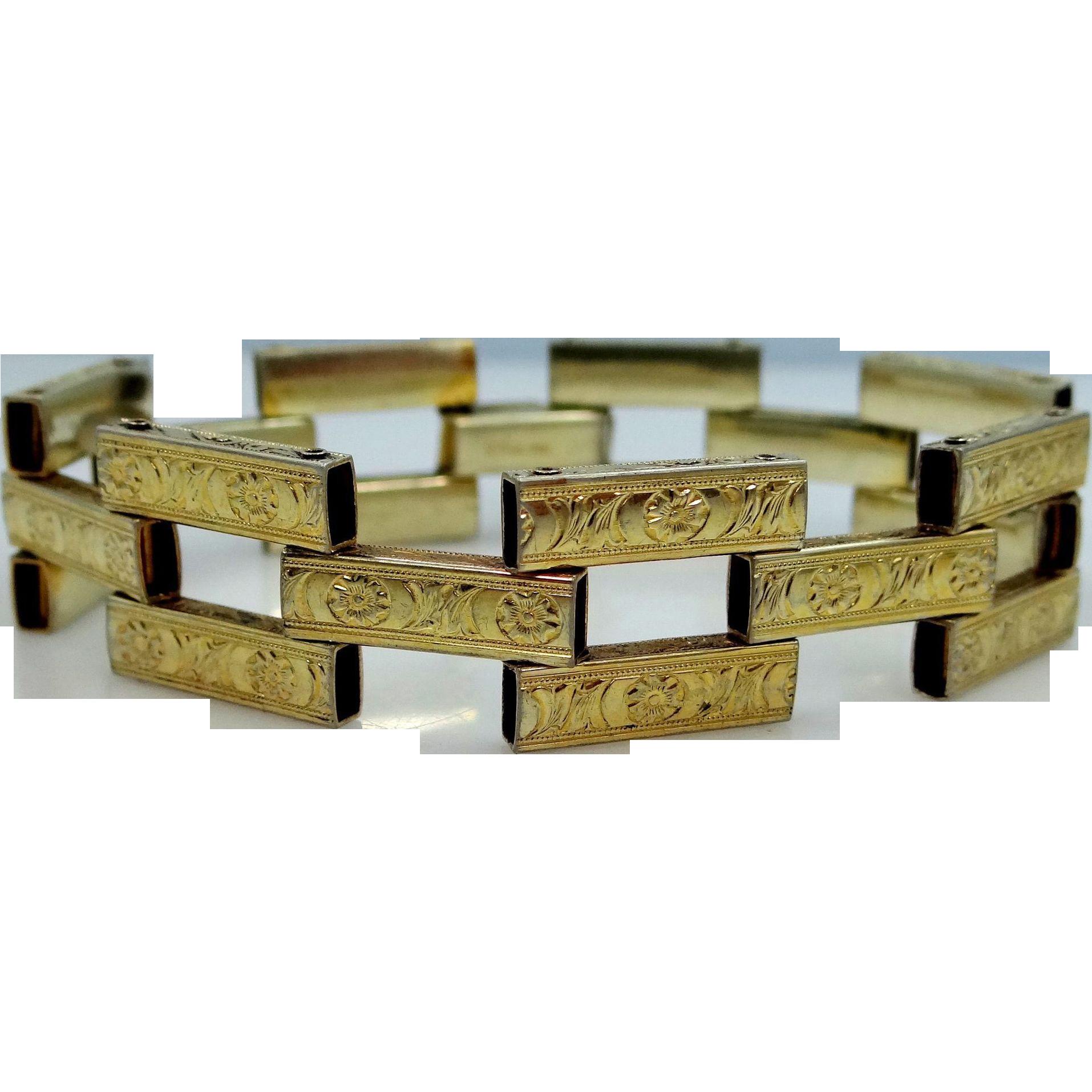 Sterling Vermeil {Gold Wash} Finely Etched Art Deco Bracelet