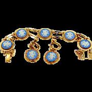Vintage Van Dell Wedgwood Jasper Bracelet and Matching Earrings