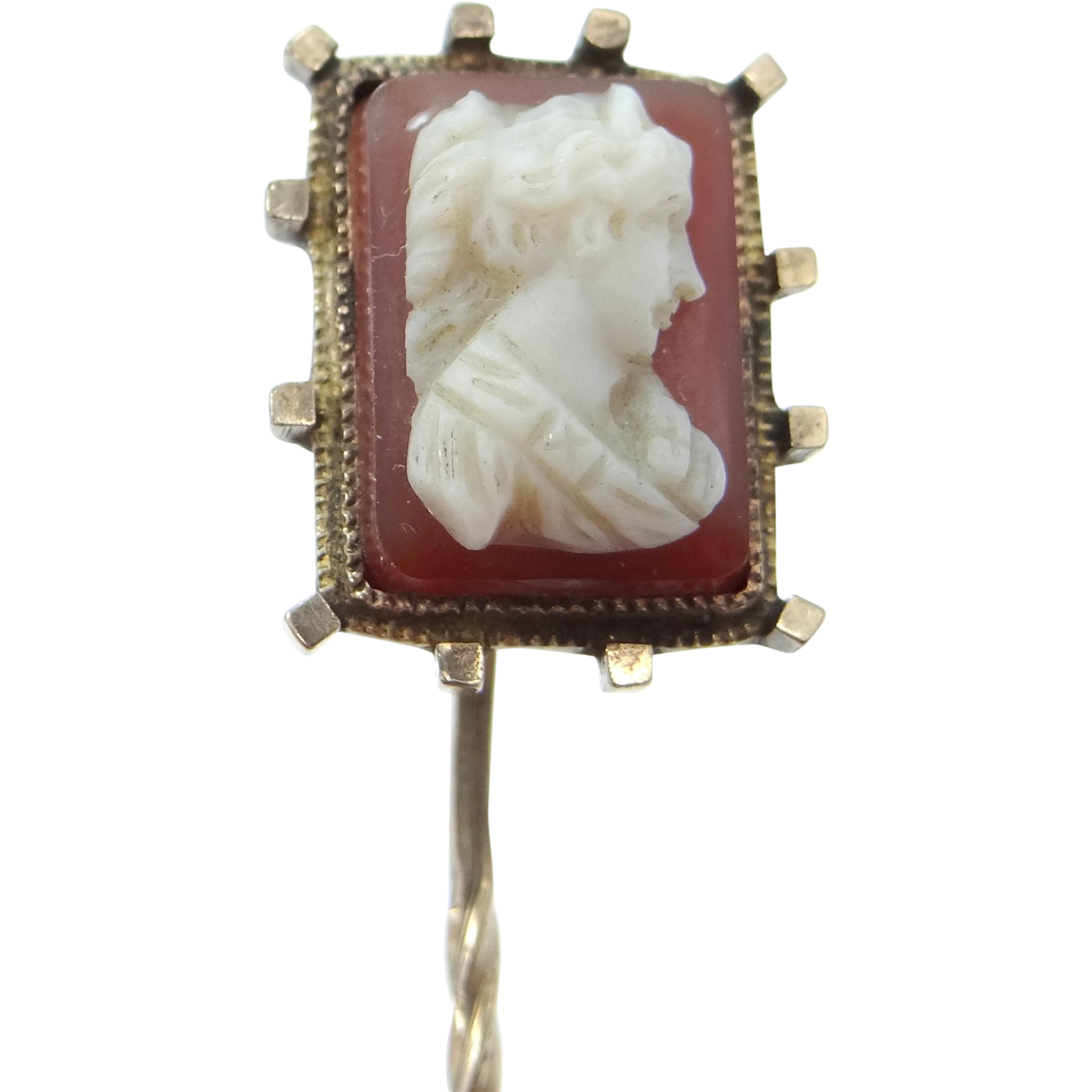 Victorian Carnelian Cameo Stick Pin
