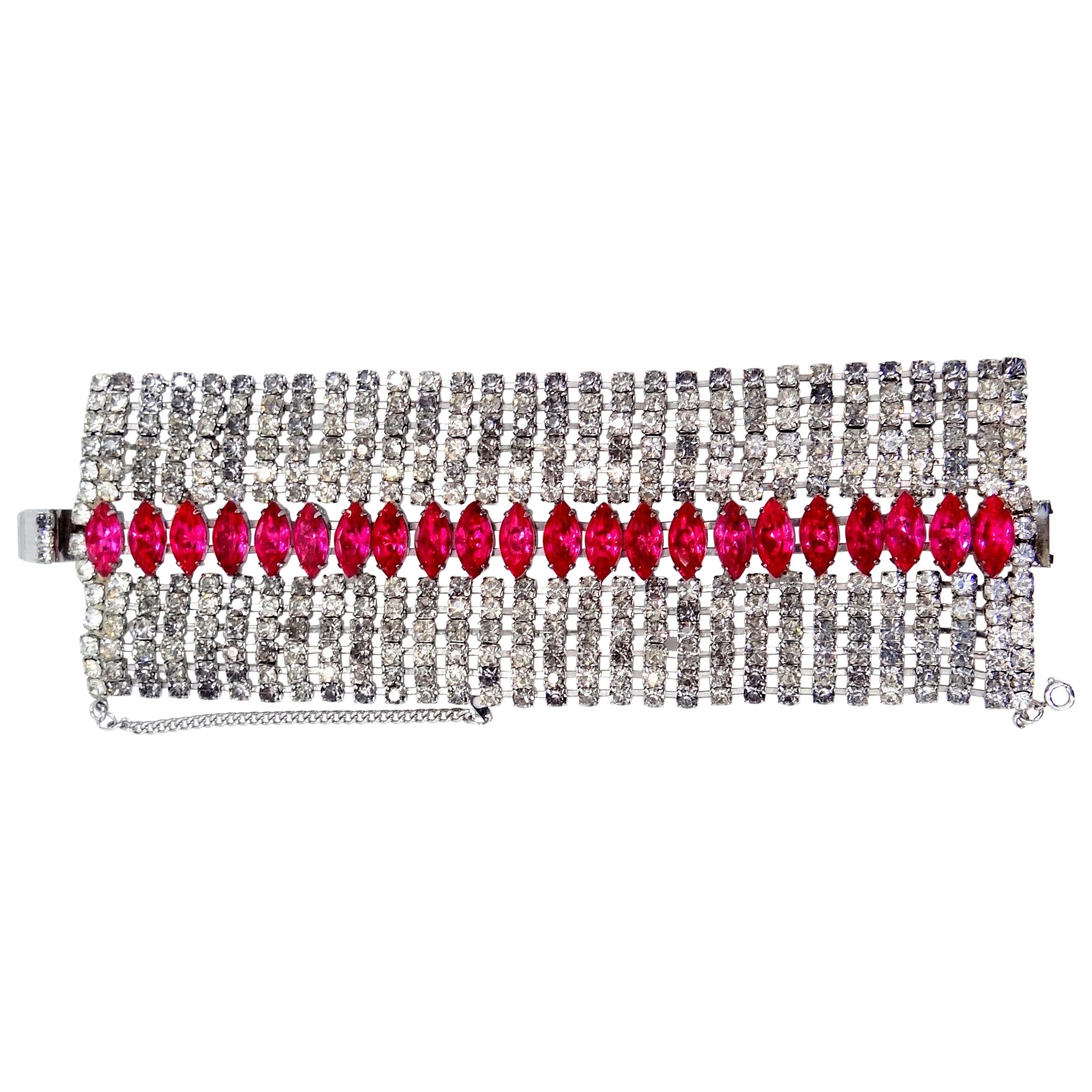 "2 1/2"" Wide Pink & Clear Rhinestones Bracelet"