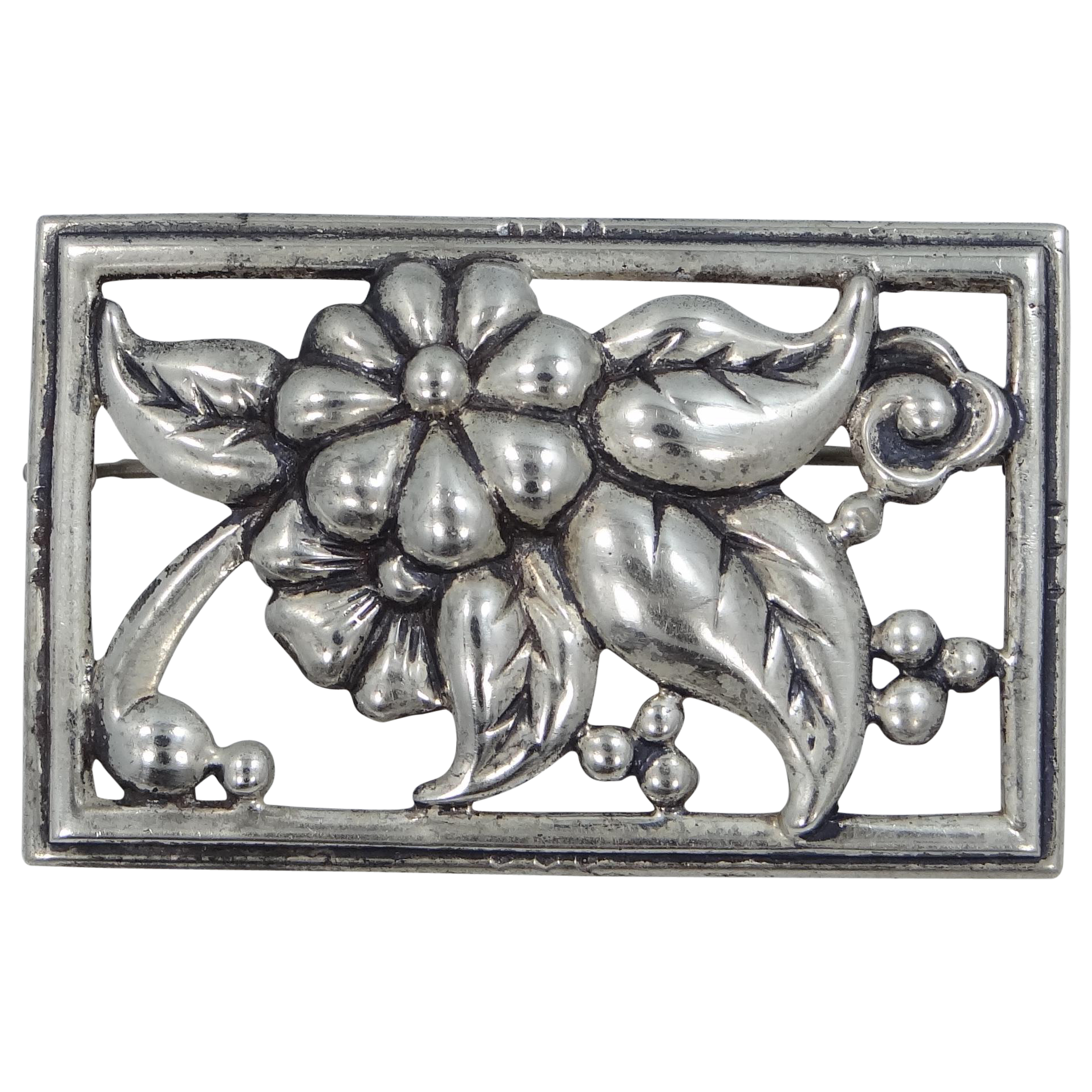 "Danecraft Sterling Silver Nouveau Style Floral Pin 2 1/4"" Wide"