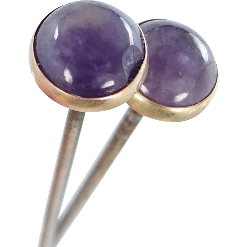 2 Matching Victorian Era Natural Amethyst Hat Pins
