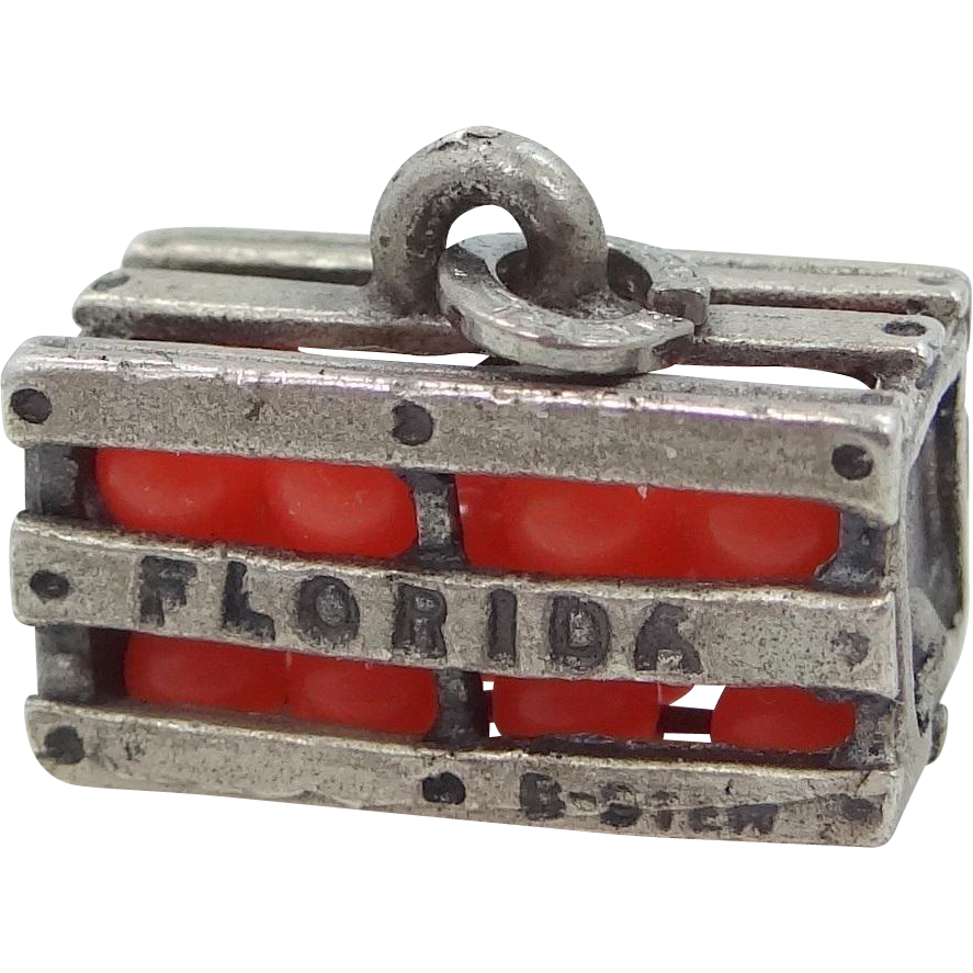 Sterling Silver Florida Orange Crate Charm 1960's