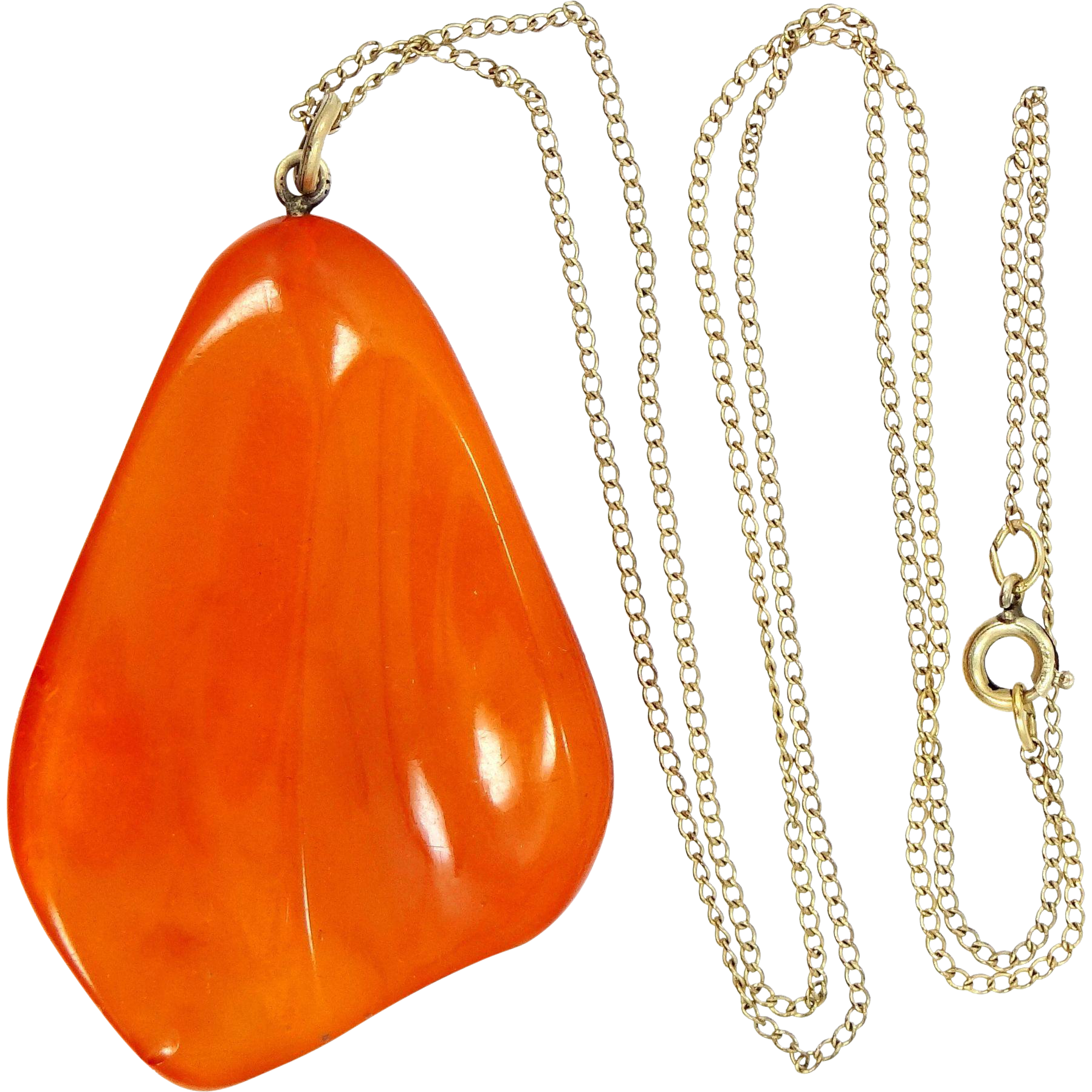 Vintage Egg Yolk Amber Necklace