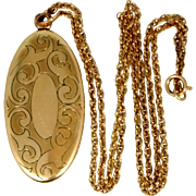 Bliss Co. Gold Filled Elongated Etched Victorian Locket