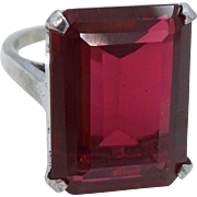 Vintage 20 ct. Synthetic Ruby Sterling Silver Ring