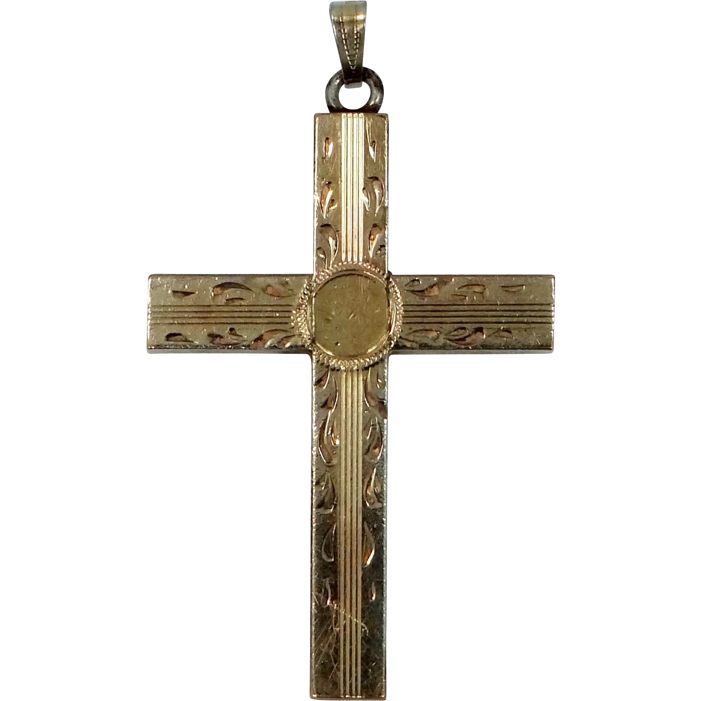 Vintage 10k Gold Filled Finely Etched Cross Pendant