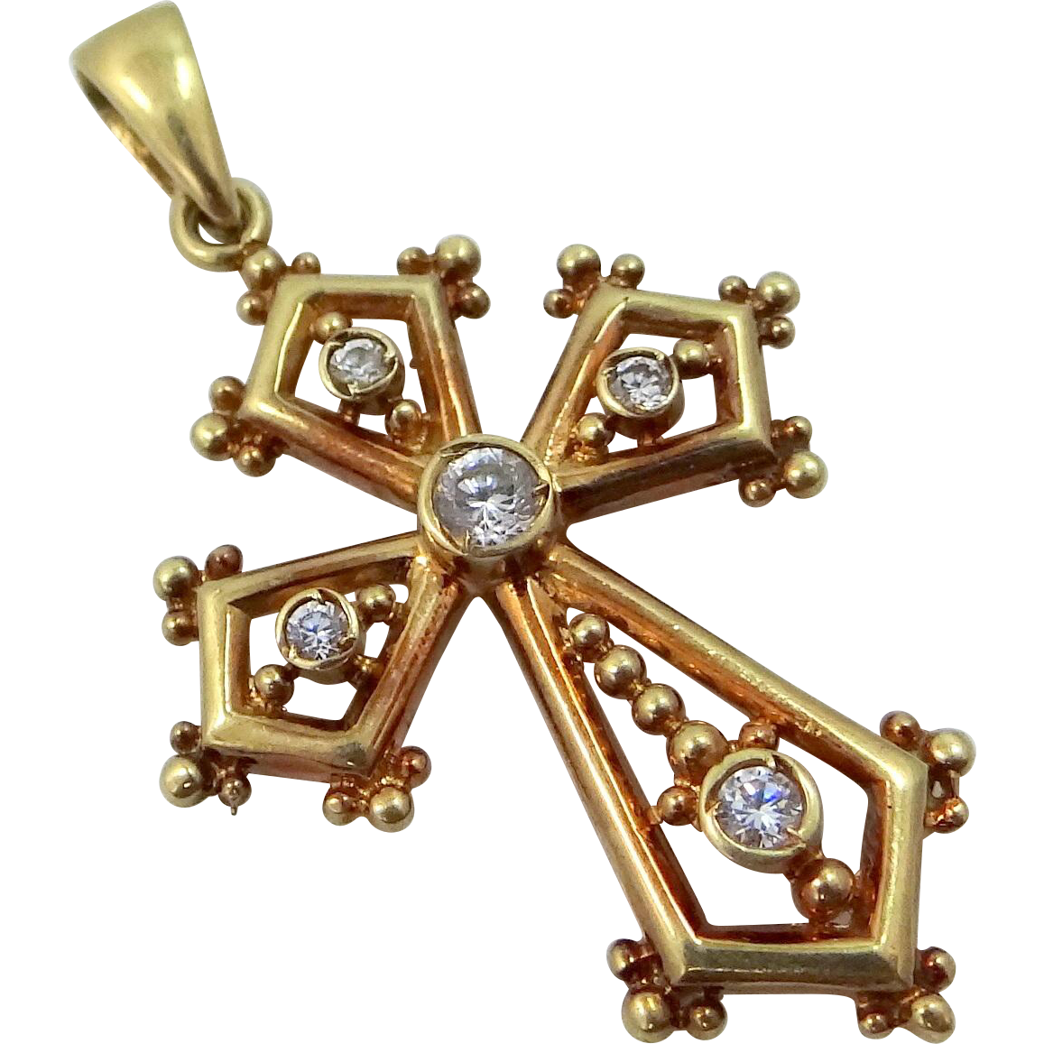 14k Solid Gold Filigree Cross