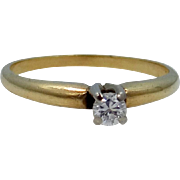14k Yellow and White Gold Solitaire Diamond Ring