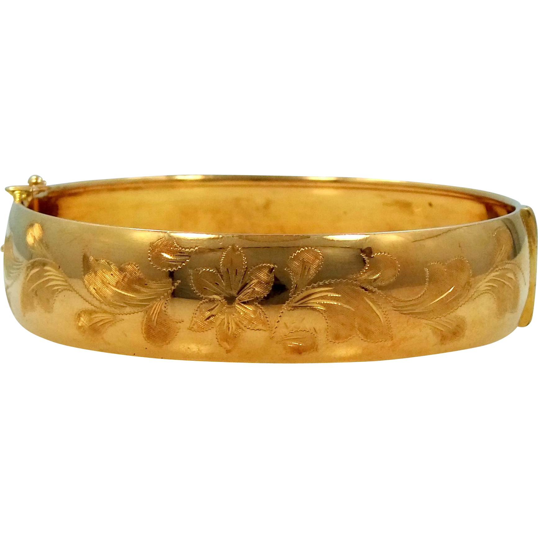 18K SOLID Gold Finely Etched Bangle Bracelet Made In Italy