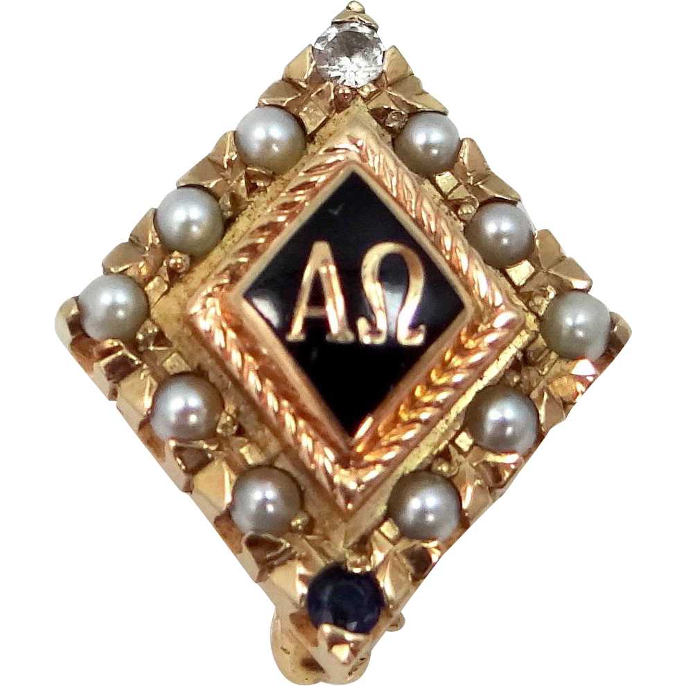 10k Gold 1955 Alpha Omega Diamond Sapphire Seed Pearls Fraternity Pin