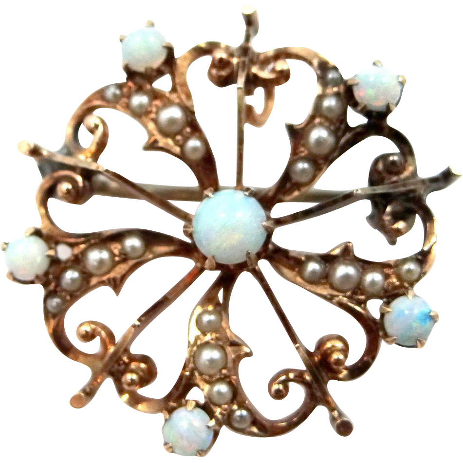 10k Gold Seed Pearls and Opals Art Deco Filigree Pin