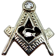 Art Deco 14k White Gold and Diamond Masonic Collar Button
