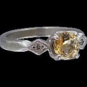 10k White Gold Citrine & Diamonds Lady's Ring