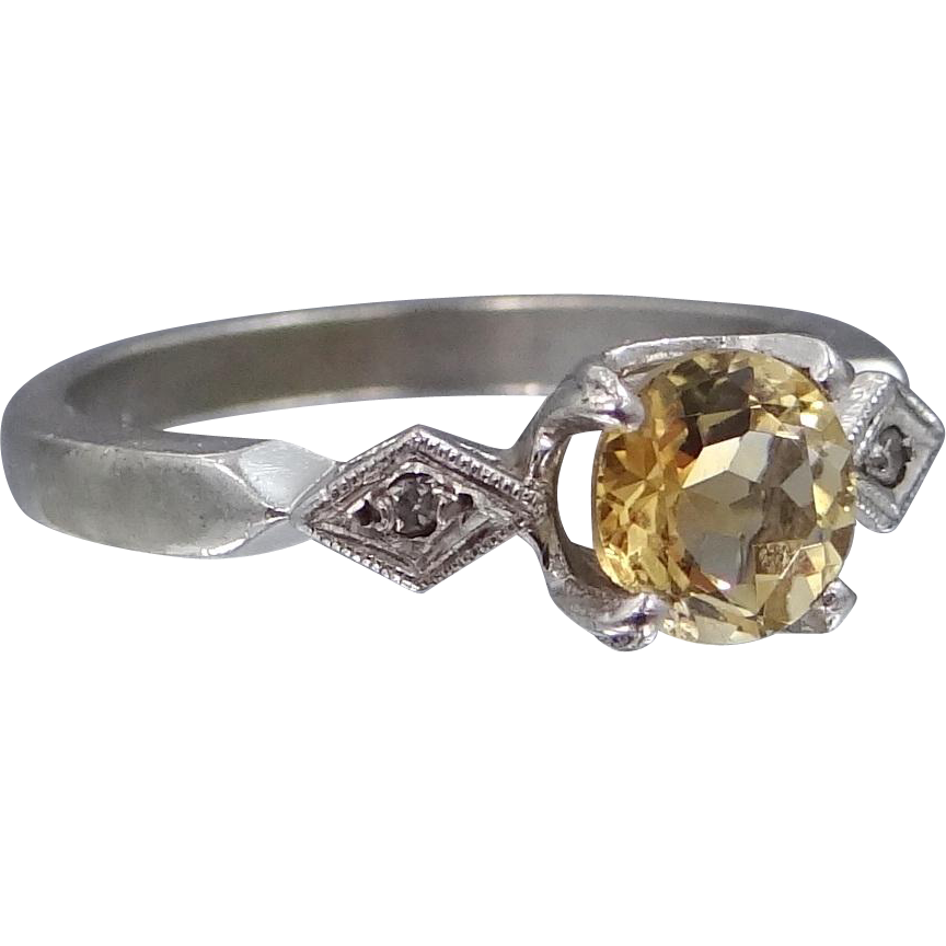 10k White Gold Citrine & Diamonds Lady's Ring