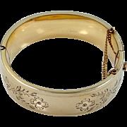 B.A. Ballou 1930s Wide Etched Bangle Bracelet