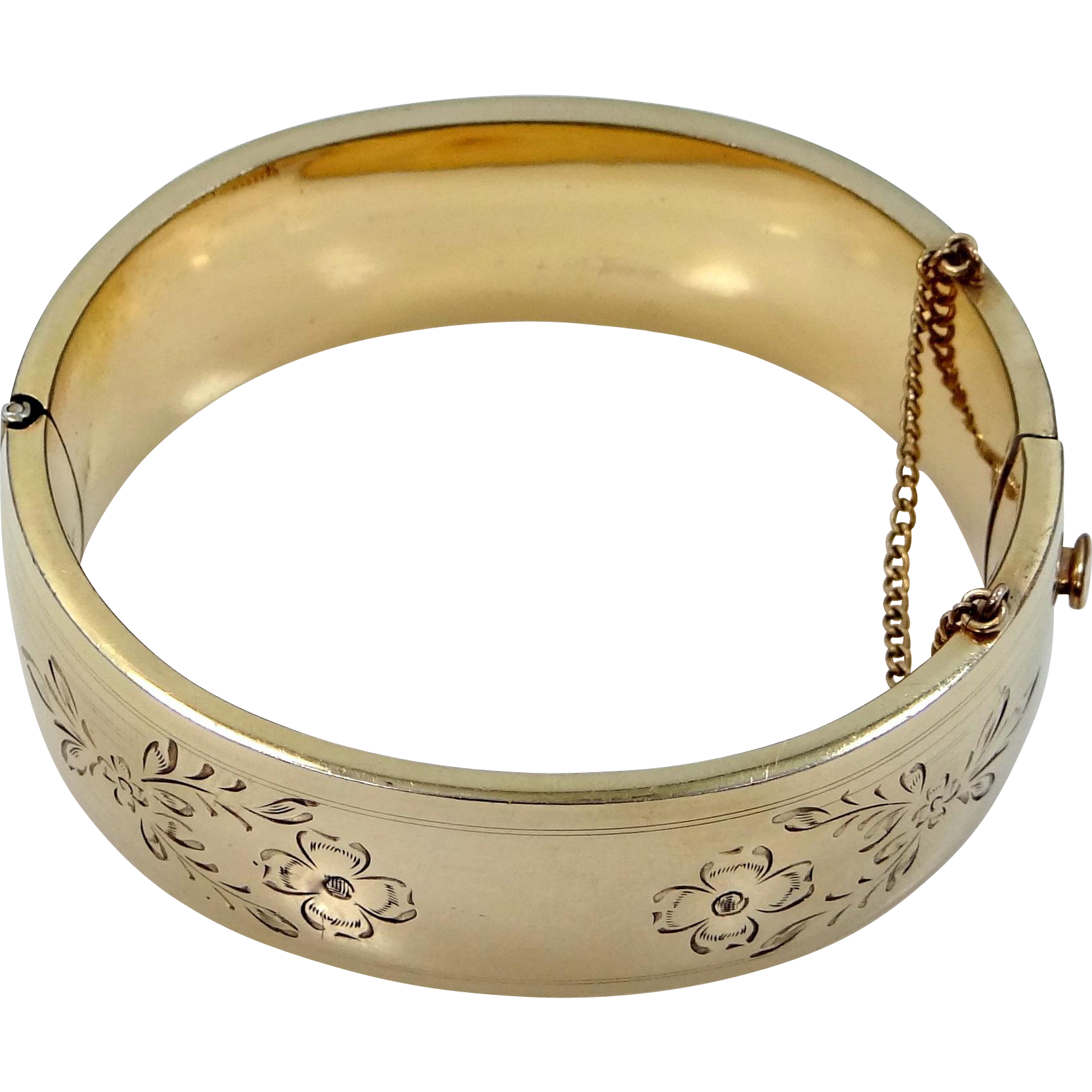 B.A. Ballou 1930s Wide Etched Bangle Bracelet