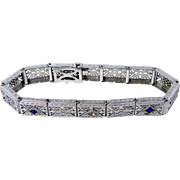 1920's Rhodium Plated Filigree Bracelet with Crystals