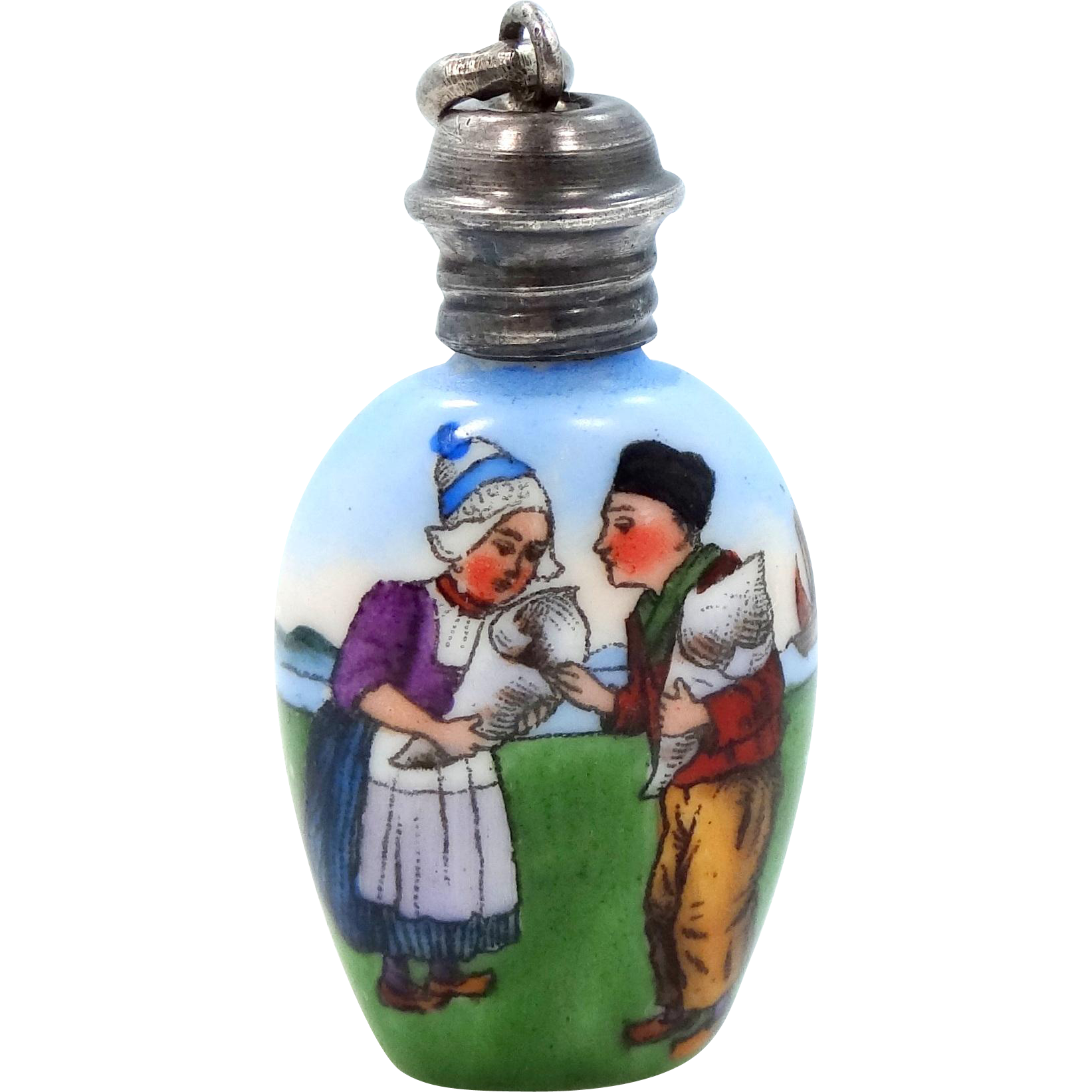 Pretty Vintage Sterling Hand Painted Dutch Couple Perfume Bottle Pendant Charm