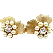 1940's Signed Miriam Haskell Faux Pearls & Crystals Earrings