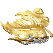Florenza Large Gold Tone Rhinestone Leaf Pin