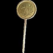 Gold Liberty Dollar Love Token Stick Pin Victorian