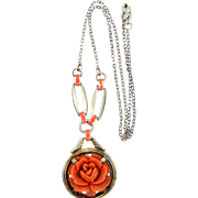 1920s Sterling Silver, Enamel & Coral Colored Celluloid Necklace