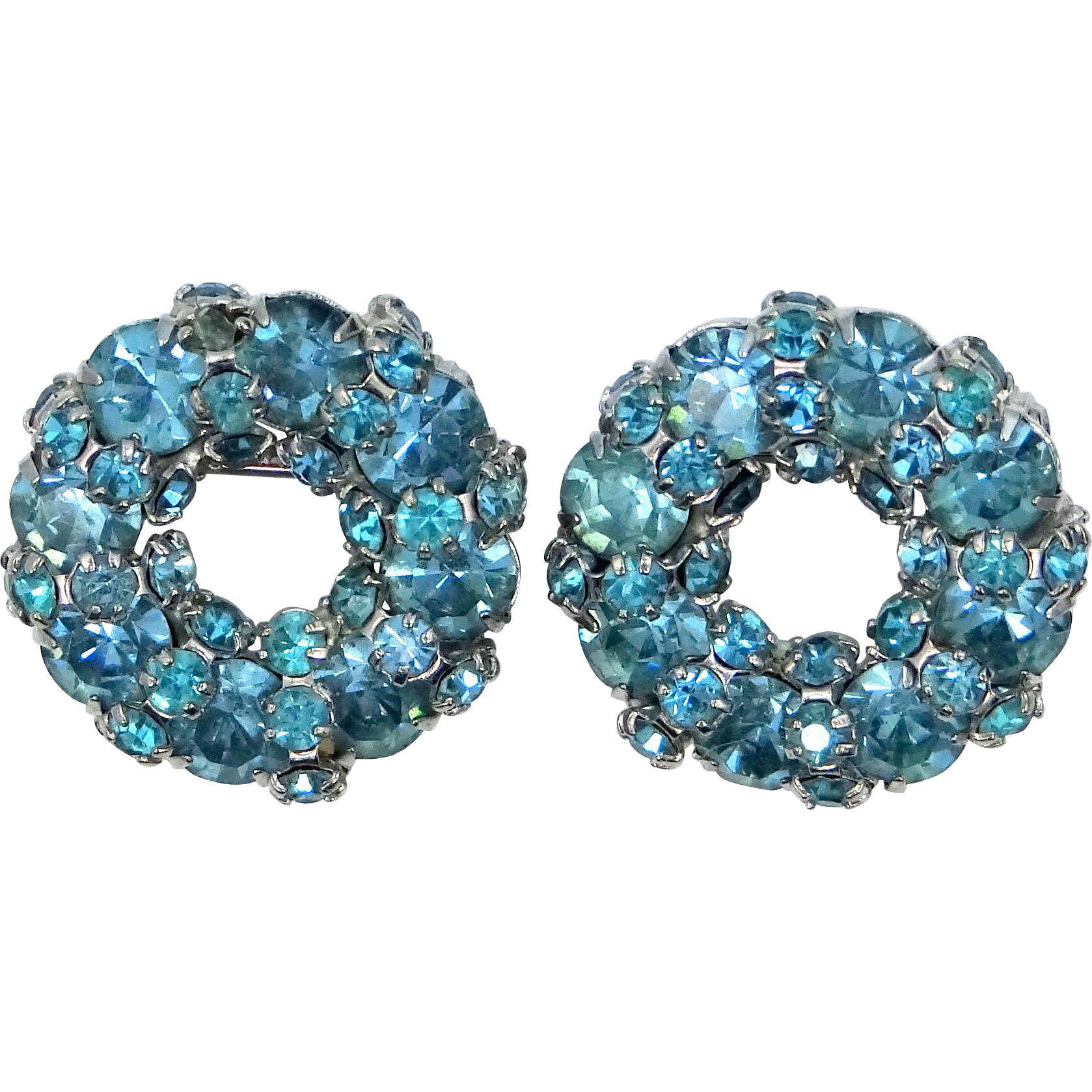 Joseph Warner Small Circle Scatter Pins Blue Rhinestones