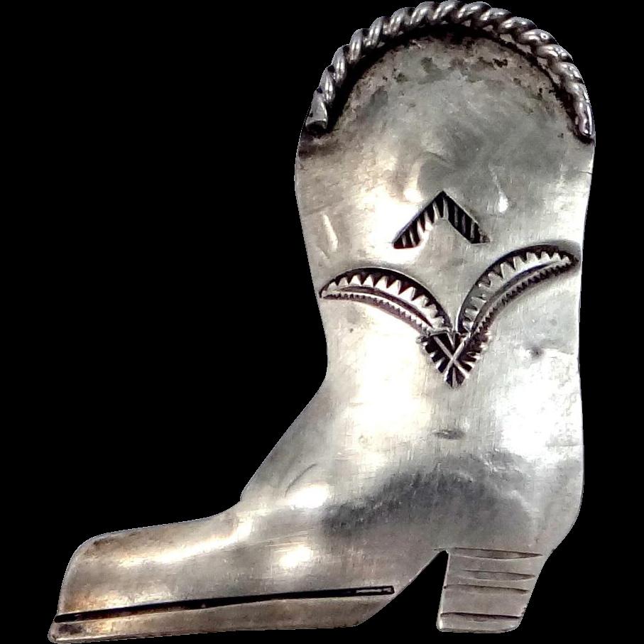 Sarah Chee Navajo Sterling Silver Figural Cowboy Boot Pin