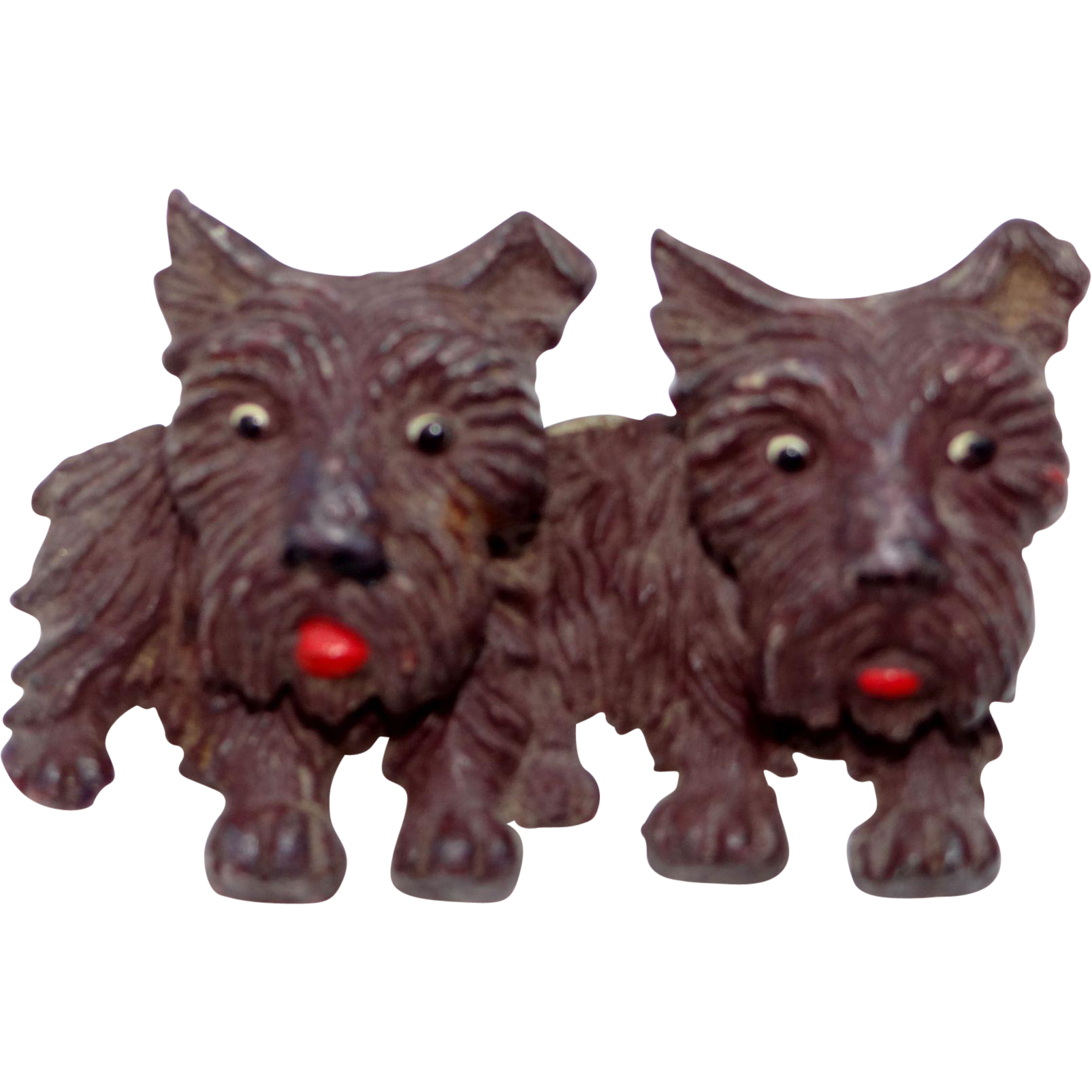 Celluloid Brindle Scotty Dog Pin with Moveable Heads Scottish Terriers