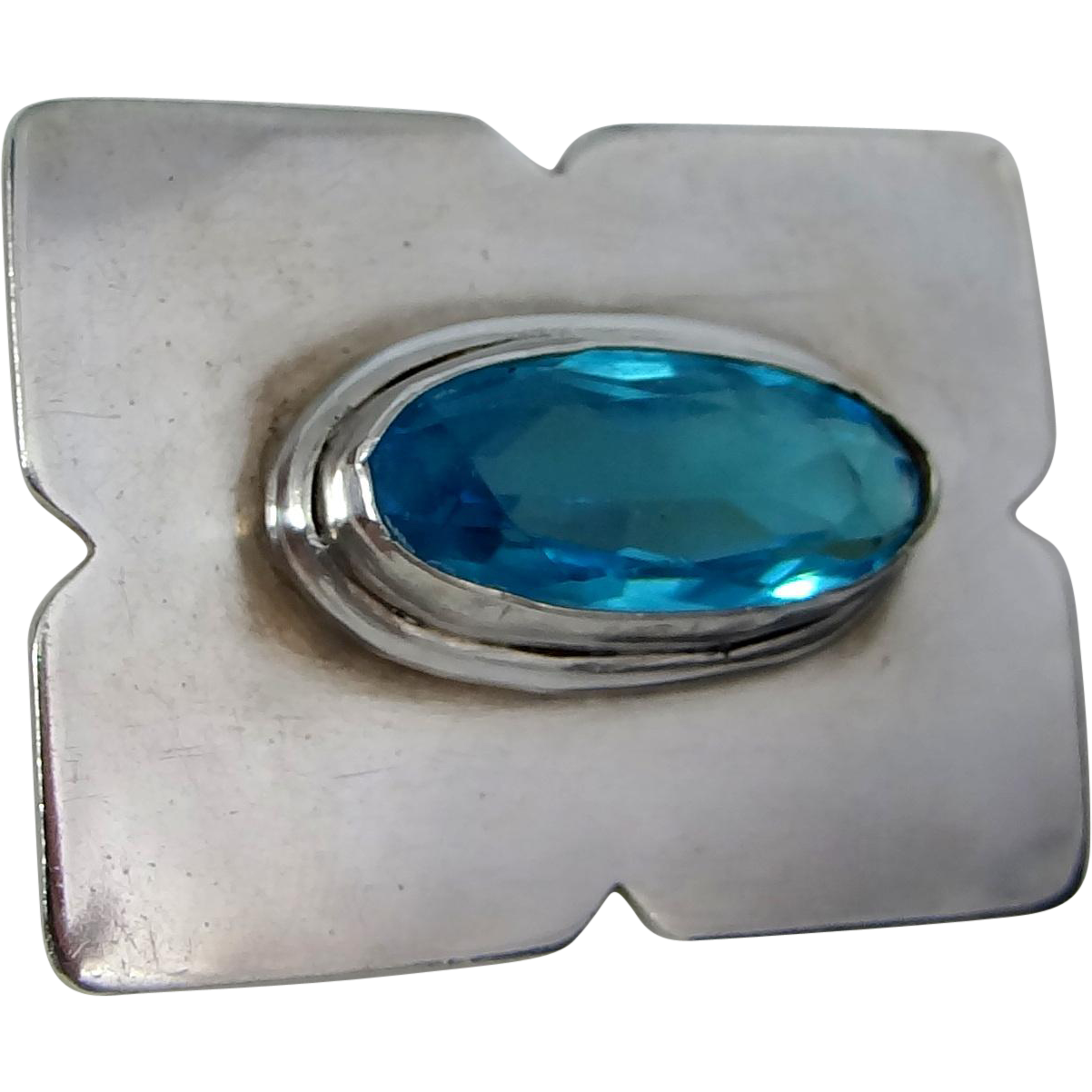Beautiful Solid Sterling Silver Pin with Blue Stone