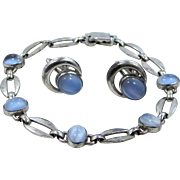 wRe Richards Co. Sterling Silver & Glass Moonstones Bracelet and Matching Earrings