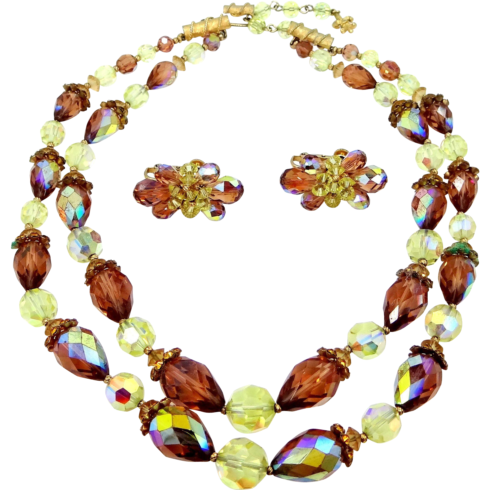 Vendome Topaz Glass Necklace & Matching Earrings