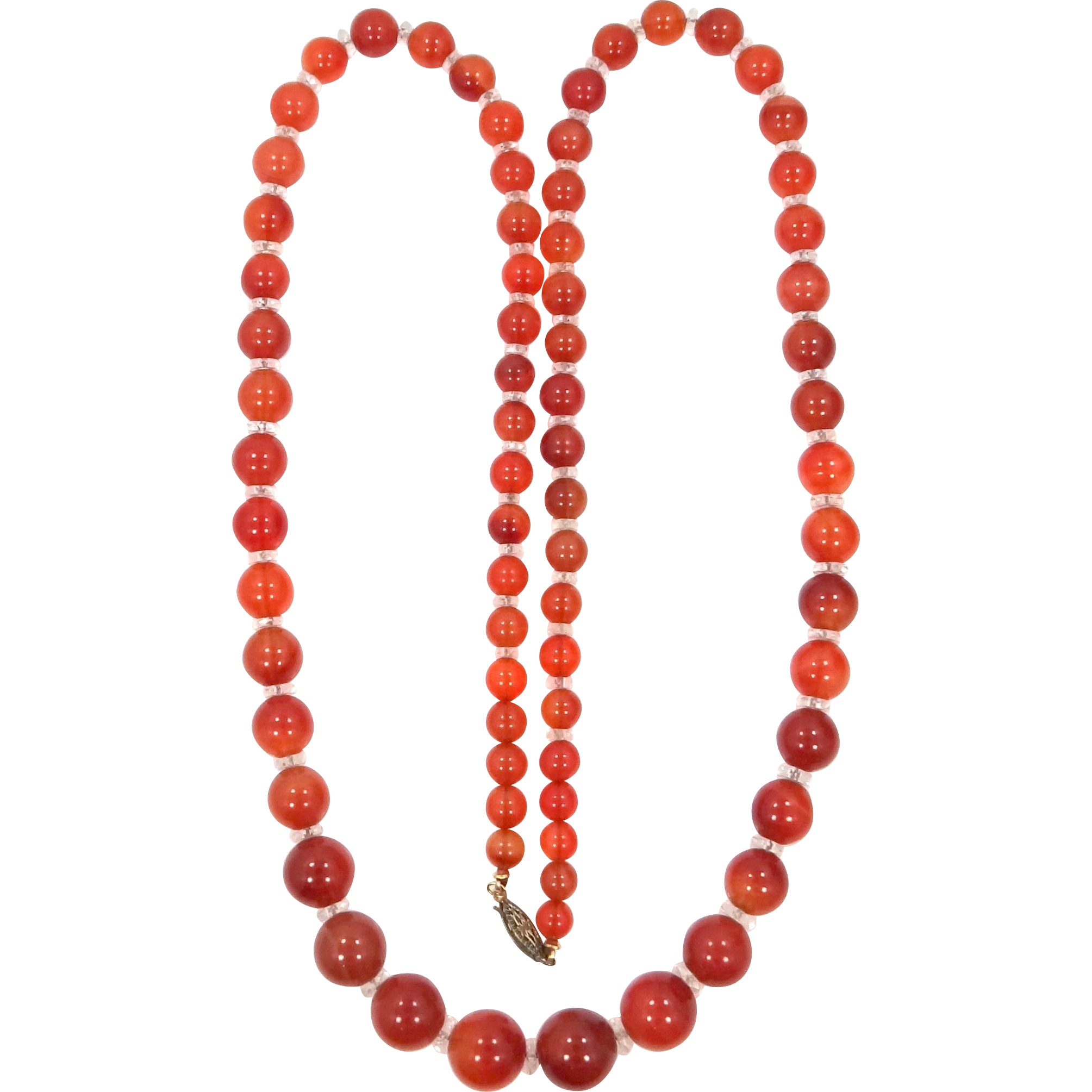 "Vintage Carnelian 30"" Long Necklace"